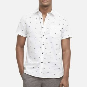 NWT Vince Camuto White Sunglasses Print Shirt
